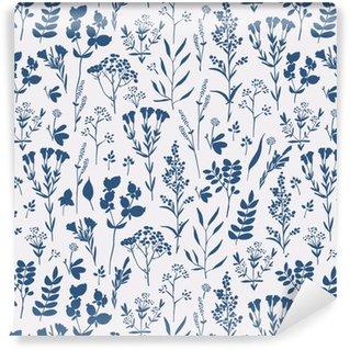 Vinil Duvar Kağıdı Otlar ile sorunsuz elle çizilmiş çiçek deseni