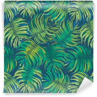 Vinil Duvar Kağıdı Palm Tropic Dikişsiz Vektör Desen bırakır