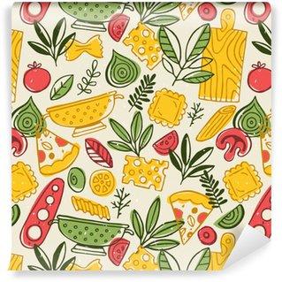 Vinil Duvar Kağıdı Pizza ve makarna dikişsiz desen. eğlenceli kabataslak yiyecek arka plan.