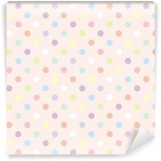 Pixerstick Duvar Kağıdı Renkli noktalar pembe arka plan, retro sorunsuz vektör desen