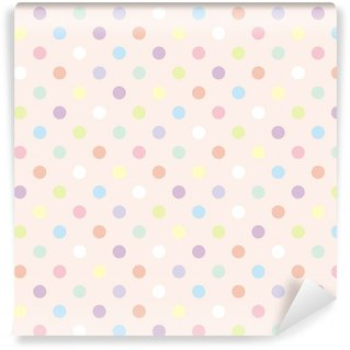 Vinil Duvar Kağıdı Renkli noktalar pembe arka plan, retro sorunsuz vektör desen