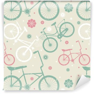 Pixerstick Duvar Kağıdı Retro bisiklet ve çiçekler ile Seamless pattern