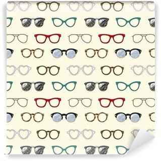 Pixerstick Duvar Kağıdı Retro gözlük ve çerçeveler ile sorunsuz desen