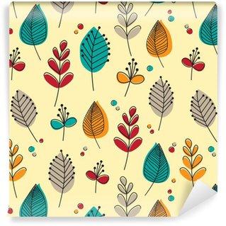 Vinil Duvar Kağıdı Retro yaprakları ve çiçekleri