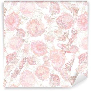 Vinil Duvar Kağıdı Romantik Yumuşak Vektör Çiçek Desen