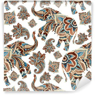 Pixerstick Duvar Kağıdı Şal elemanları arka plan ile Suluboya etnik fil.