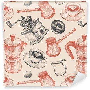 Vinil Duvar Kağıdı Seamless pattern tüm kahve hakkında olduğunu.