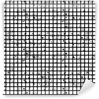 Pixerstick Duvar Kağıdı Seamless vector damalı desen. kareler Yaratıcı geometrik siyah ve beyaz arka plan. yıpratma, çatlaklar ve ambrosia ile grunge doku. Eski stil eski tasarım. Grafik illüstrasyon.