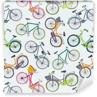 Vinil Duvar Kağıdı Şehir bisikletleri ile elle çizilmiş vektör seamless pattern