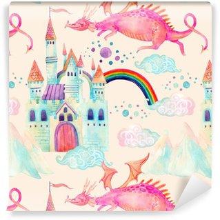 Pixerstick Duvar Kağıdı Sevimli ejderha, sihirli kale, dağ ve peri bulutlar Suluboya masal sorunsuz desen