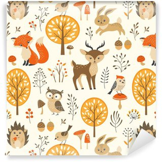 Vinil Duvar Kağıdı Sevimli hayvanlar ile sonbahar orman sorunsuz desen