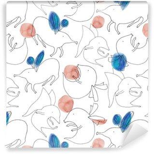 Pixerstick Duvar Kağıdı Sihirli yaratıklar uçan Suluboya vektör karikatür seamless pattern. El suluboya lekeleri ile sorunsuz doku boyalı. Şirin çocuksu modeli.