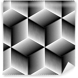 Vinil Duvar Kağıdı Siyah ve beyaz hayali soyut geometrik sorunsuz 3d desen.