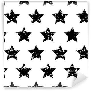 Pixerstick Duvar Kağıdı Siyah yıldız ile elle çizilmiş vektör seamless pattern üzerinde izole