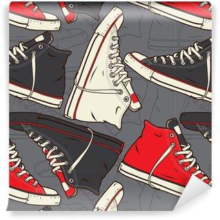 Pixerstick Duvar Kağıdı Spor ayakkabı Vektör arka planı ile sorunsuz desen.