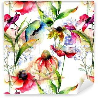Vinil Duvar Kağıdı Stilize çiçekler ile Seamless pattern