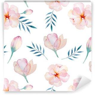 Vinil Duvar Kağıdı Stilize çiçekler ile sorunsuz duvar kağıdı, suluboya illustratio