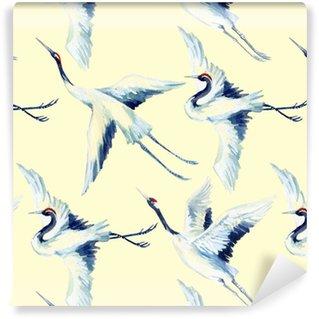 Vinil Duvar Kağıdı Suluboya Asya vinç kuş sorunsuz desen