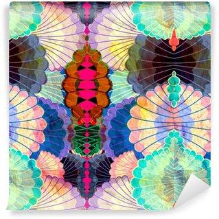 Vinil Duvar Kağıdı Suluboya çok renkli soyut unsurlar