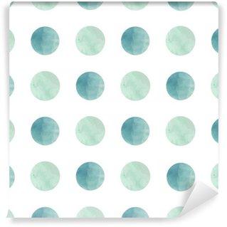 Vinil Duvar Kağıdı Suluboya doku. Dikişsiz desen. beyaz zemin üzerine pastel renklerde Suluboya çevreler. Pastel renkler ve romantik narin tasarımı. Polka Dot Desen. Taze ve Nane Renkleri.