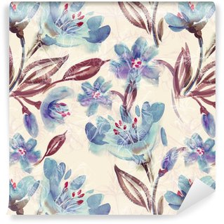 Vinil Duvar Kağıdı Suluboya Mavi Çiçekler Dikişsiz Desen