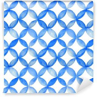 Pixerstick Duvar Kağıdı Suluboya mavi japon model.