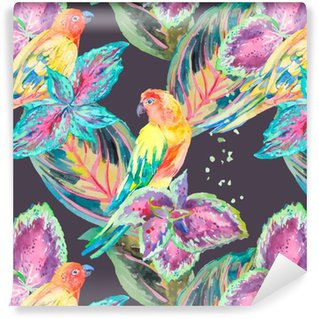 Vinil Duvar Kağıdı Suluboya Papağanlar .Tropical çiçek ve yaprakları.