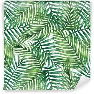 Pixerstick Duvar Kağıdı Suluboya tropikal palmiye kesintisiz desen bırakır. Vektör çizim .__