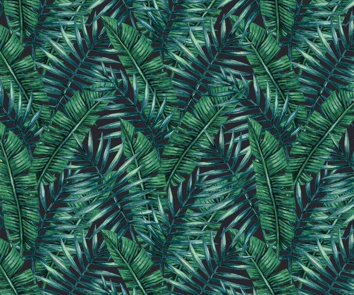 Vinil Duvar Kağıdı Suluboya tropikal palmiye kesintisiz desen bırakır. Vektör çizim .__ - Grafik kaynakları