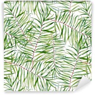Vinil Duvar Kağıdı Suluboya tropikal yapraklar desen