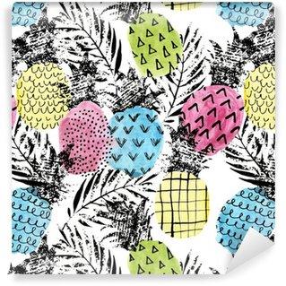 Pixerstick Duvar Kağıdı Suluboya ve grunge dokular sorunsuz desen ile renkli ananas