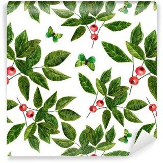 Pixerstick Duvar Kağıdı Suluboya yaprakları, çilek ve kelebekler ile sorunsuz arka plan deseni