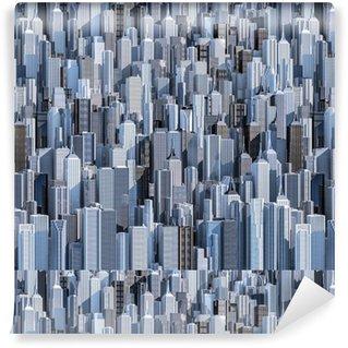 Pixerstick Duvar Kağıdı Tall şehir arka plan / gündüz modern kent doldurma görüntüsünün 3D render