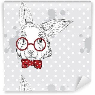 Pixerstick Duvar Kağıdı Tavşan vektör. hayvanın elle çizim. Baskı. Yenilikçi. Suluboya Bunny. Vintage kartpostal.