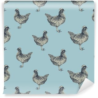 Pixerstick Duvar Kağıdı Tavuk ve civciv ile sorunsuz vektör desen.