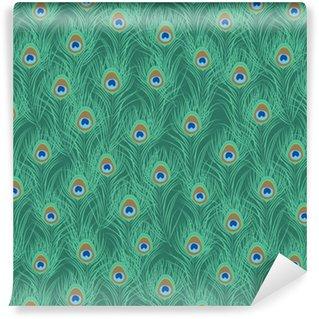 Vinil Duvar Kağıdı Tavuskuşu tüyü seamless pattern. vektör çizim