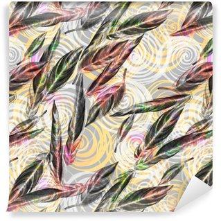 Vinil Duvar Kağıdı Tropik bitki örtüsü sorunsuz desen. Spiral geometrik desen egzotik Calathea Whitestar bitkinin renkli suluboya yaprakları, etkisi harmanlanmış. Tekstil baskı.