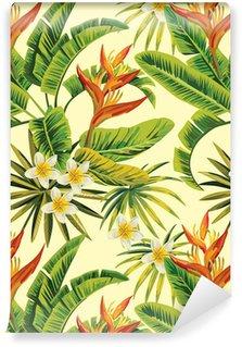 Pixerstick Duvar Kağıdı Tropikal egzotik çiçekler ve bitkiler desen