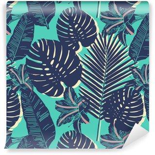 Vinil Duvar Kağıdı Tropikal Palm kesintisiz yaprak mavi desen