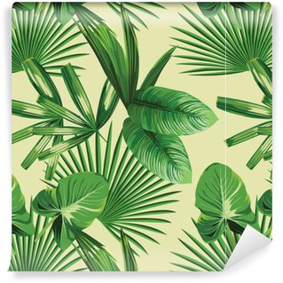Pixerstick Duvar Kağıdı Tropikal palmiye seamless background yaprakları