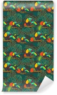 Vinil Duvar Kağıdı Tropikal toucan sorunsuz vektör desen