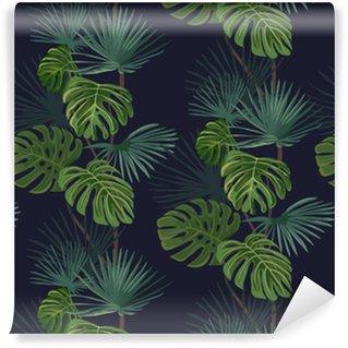Pixerstick Duvar Kağıdı Tropikal yaprakları ile sorunsuz desen. El arka plan çizilmiş.