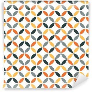 Vinil Duvar Kağıdı Turuncu Geometrik Retro Dikişsiz Desen