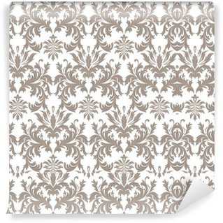 Pixerstick Duvar Kağıdı Vektör Barok Vintage çiçek Damask desen. Lüks Klasik süsleme, duvar kağıtları, tekstil, kumaş Royal Victorian doku. kahverengi renk