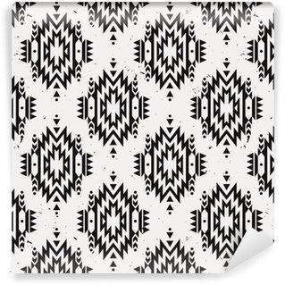 Vinil Duvar Kağıdı Vektör grunge monokrom kesintisiz dekoratif etnik desen. Amerikan Hint motifleri. Aztek aşiret takı ile Arkaplan.