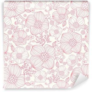 Vinil Duvar Kağıdı Vektör kırmızı çizgi sanat çiçekleri zarif seamless pattern arka plan