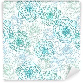 Vinil Duvar Kağıdı Vektör mavi hat sanatı çiçekler zarif seamless pattern arka plan