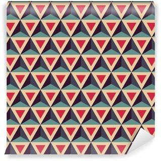 Vinil Duvar Kağıdı Vektör Modern kesintisiz renkli geometri desen, 3D üçgenler, renk kırmızı, mavi, soyut geometrik arka plan, moda renkli baskı, retro doku, yenilikçi moda tasarımı
