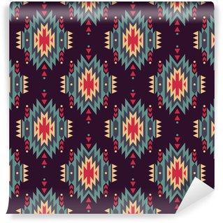 Vinil Duvar Kağıdı Vektör sorunsuz dekoratif etnik desen. Amerikan Hint motifleri. Aztek aşiret takı ile Arkaplan.