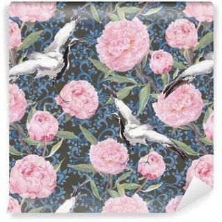 Pixerstick Duvar Kağıdı Vinç kuşlar, şakayık çiçekleri. Çiçek çince desen tekrarlayarak. Suluboya